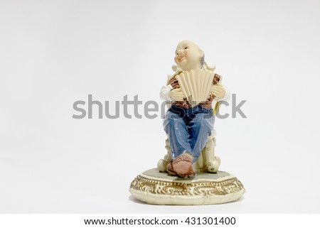 grandfather is playing Accordion with white background -ceramic doll