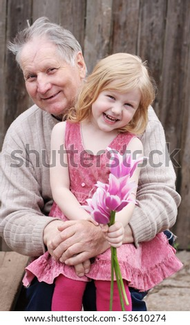 grandfather with girl outdoor