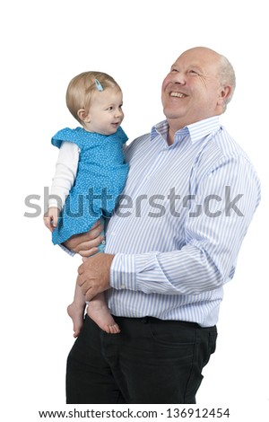 grandfather with granddaughter, isolated on white background - stock photo