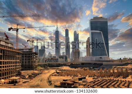 Grandiose construction in Dubai, the United Arab Emirates - stock photo
