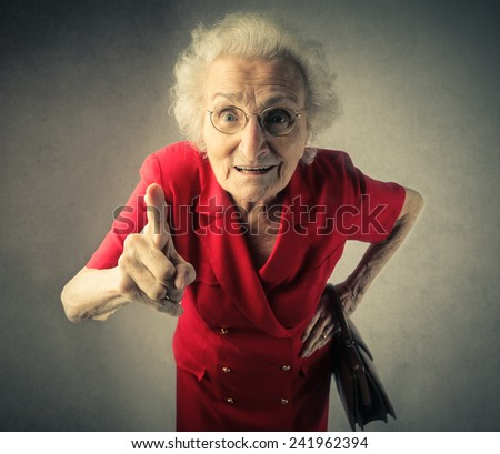 Grandma pointing out - stock photo