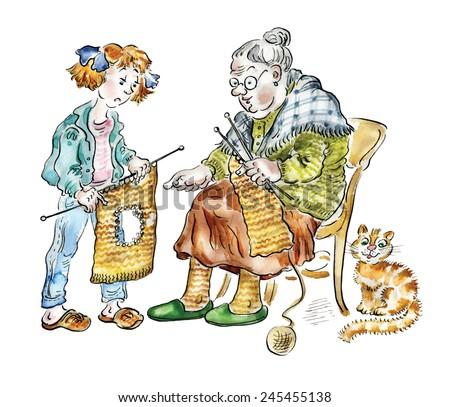 Grandma teaching her granddaughter knitting  - stock photo