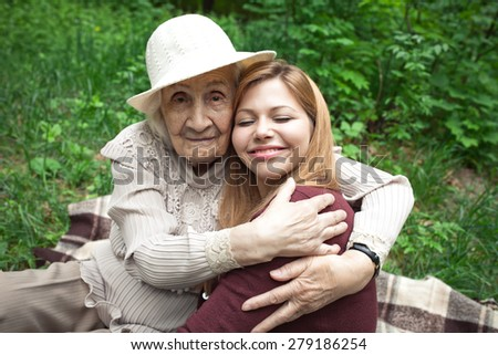 Grandmother and granddaughter. Happy family. - stock photo