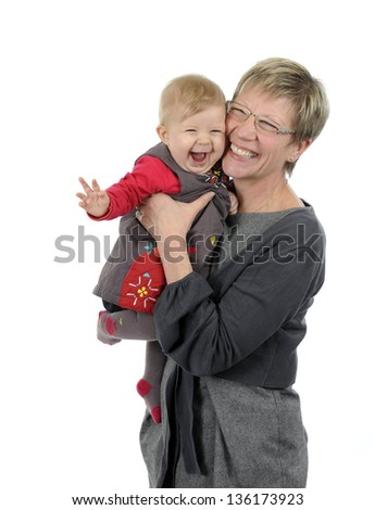 grandmother and granddaughter having fun, isolated on white background