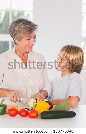 Grandmother cutting vegetables looking at grandson in kitchen - stock photo