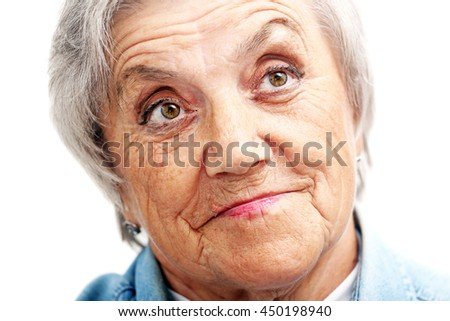 Grandmother face on a white background - stock photo