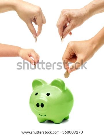Grandmother, father, mother, and baby in the family do green saving money in a green piggy bank / Family go green saving concept - stock photo