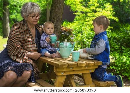 Grandmother having tea with her grandchildren - stock photo