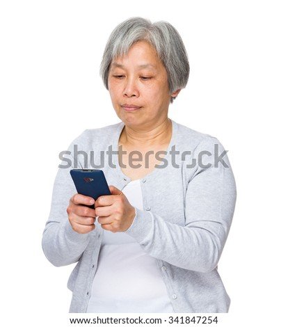 Grandmother learn to use of the mobile phone