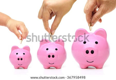 Grandmother, mother, and baby in the family do saving money in pink piggy banks in three different sizes - stock photo