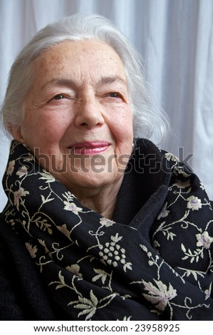 Grandmother portrait with elegant scarf