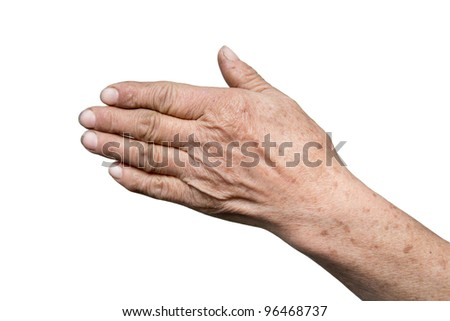 grandmother's hand on a white background