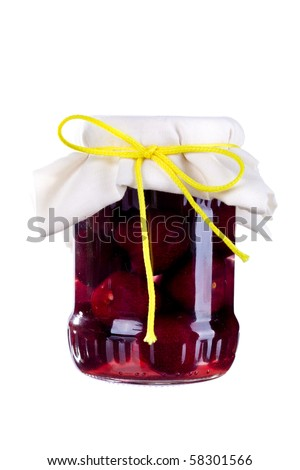 Grandmother's Marmelade in a bottle. - stock photo