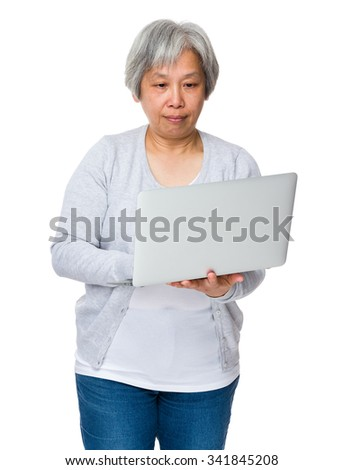 Grandmother use of the laptop computer