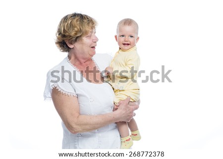 Grandmother with Baby on White Background - stock photo