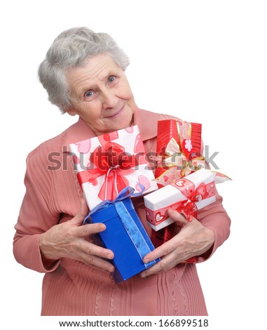 grandmother with gifts on white background  - stock photo