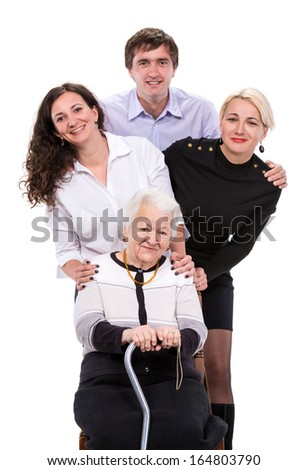 Grandmother with grandchildren on a white background - stock photo