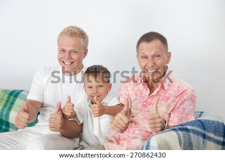 GrandPa father and son posing for camera - stock photo