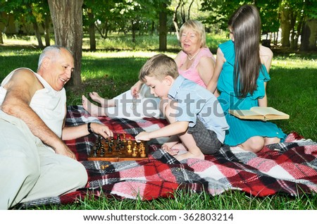 grandparents and grandchildren are resting in the park. horizontal format. focus on the chessboard - stock photo