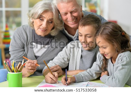 Grandparents and grandchildren drawing
