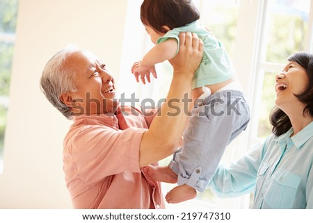 Grandparents And Grandson Playing Game Indoors Together - stock photo