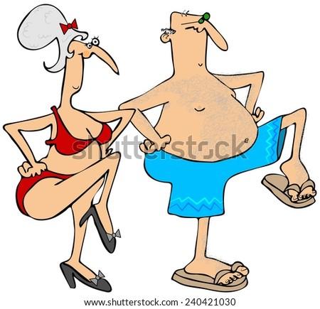 Grandparents exercising - stock photo
