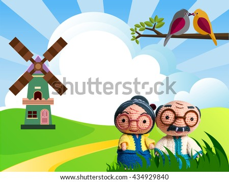 Grandparents living open grasslands and Birds. - stock photo
