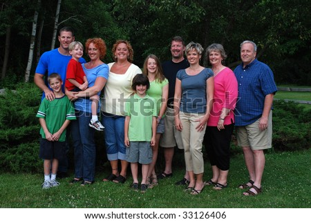 grandparents with children and grandchildren - stock photo