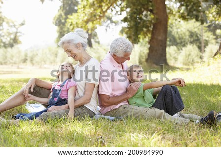 Grandparents with grandchildren in the country - stock photo