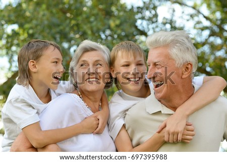 Grandparents with grandsons having fun