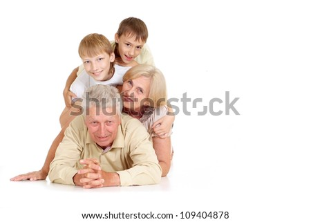 Grandparents with their attractive  grandchildren on a white background - stock photo