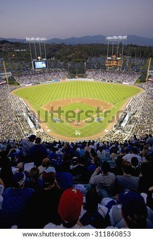 Grandstands overlooking home plate at National League Championship Series (NLCS), Dodger Stadium, Los Angeles, CA on October 12, 2008