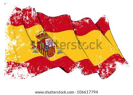 Grange Flag of Spain - stock photo