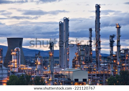 Grangemouth oil refinery complex located on the Firth of Forth in Grangemouth, Scotland. One of the largest of kind in Europe