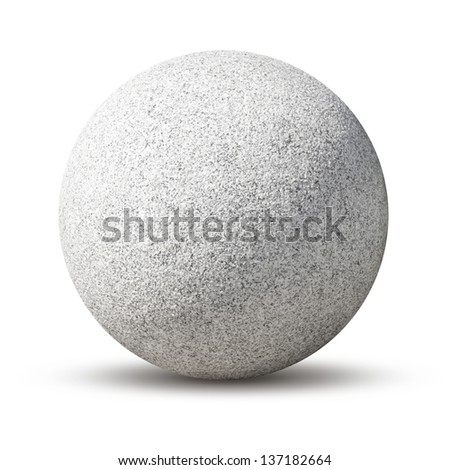 Granite ball isolated on white background. - stock photo