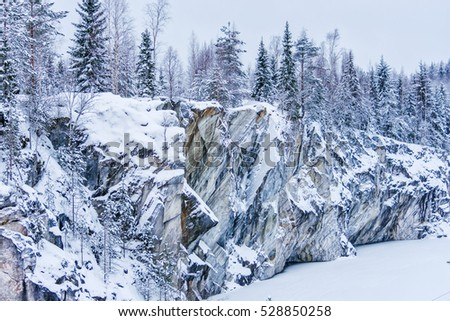 GRANITE - Canyon and trees in the snow, Karelia