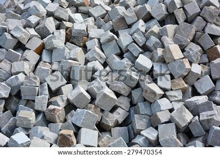 Granite cobblestoned  background - stock photo