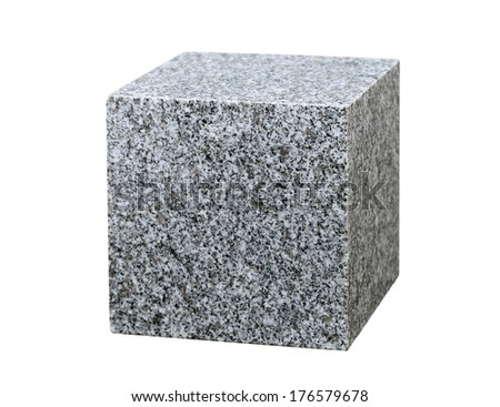 granite cube isolated on white background - stock photo