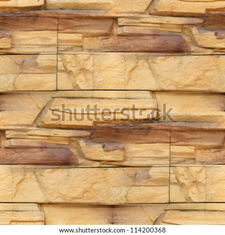 Granite floor wallpaper decorative brick wall seamless background texture - stock photo