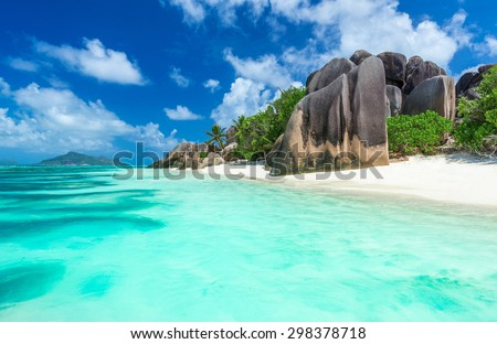 Granite Rocks at beach on island La Digue in Seychelles - Anse Source d'Argent  - stock photo