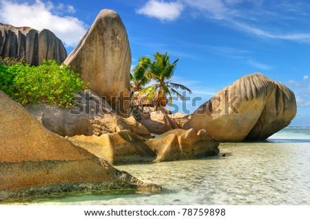 granite rocky beaches on Seychelles islands - stock photo