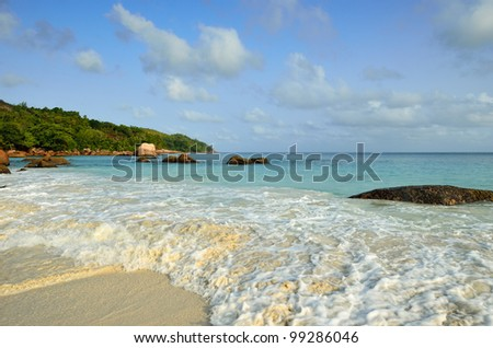 Granite rocky beaches on Seychelles islands at early morning, Praslin, Anse Lazio