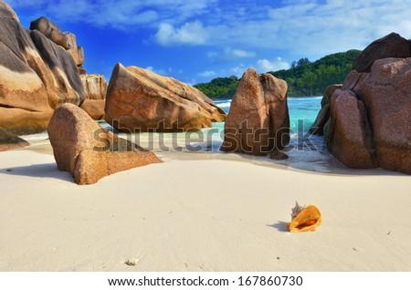 Granite rocky beaches on Seychelles islands, La Digue, Grand Anse.  - stock photo