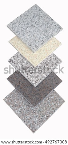 granite sample texture on white background- marble layers design gray stone slab surface grain rock backdrop layout industry construction