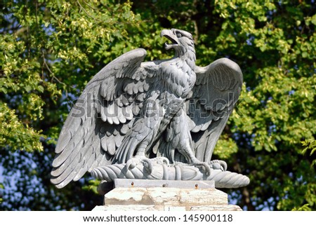 Granite sculpture of eagle, Tallinn, Estonia - stock photo