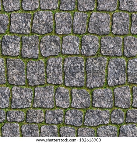 Granite Sett with a Young Grass in the Seams. Seamless Tileable Texture. - stock photo