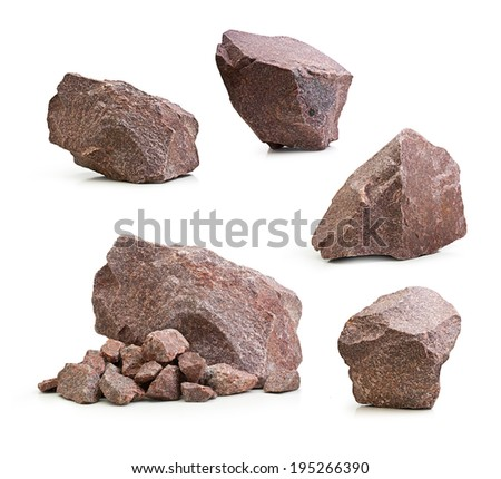 Granite stones, rocks set isolated on white background - stock photo