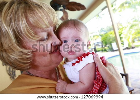 Granny and daughter enjoy time together - stock photo