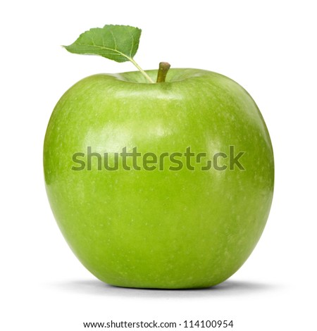 granny smith apple with leaf - stock photo