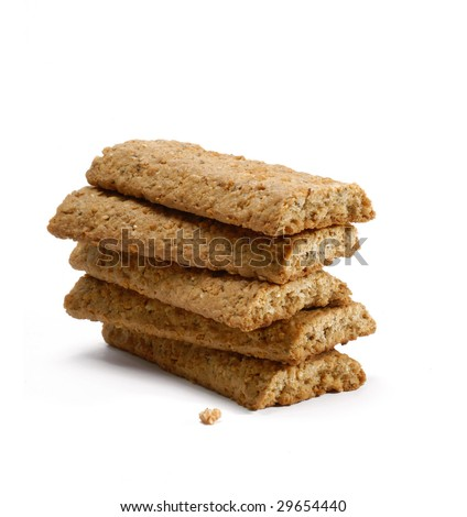 Granola Bars on white background.Fiber crackers. - stock photo